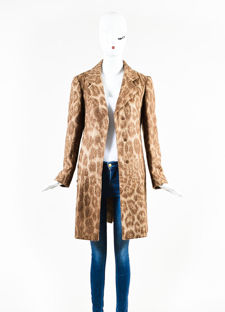 Prada Brown and Cream Mohair and Wool Blend Animal Spotted and Pleated Coat Frontview