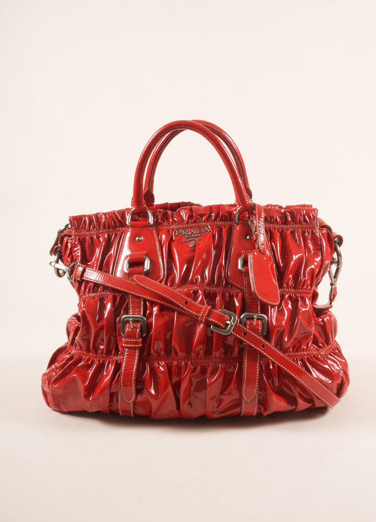 "Prada Red Patent Leather ""Rosso Vernice Gaufre"" Satchel Shoulder Bag Frontview"