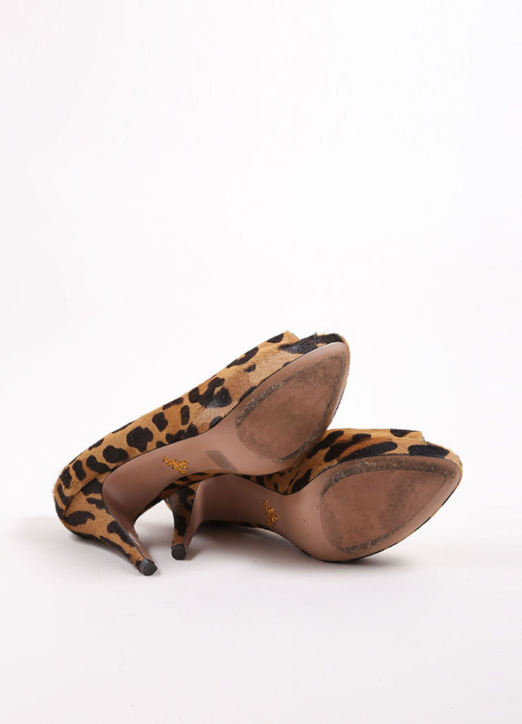 Prada Tan and Brown Pony Hair Leopard Print Peep Toe Platform Pumps Outsoles