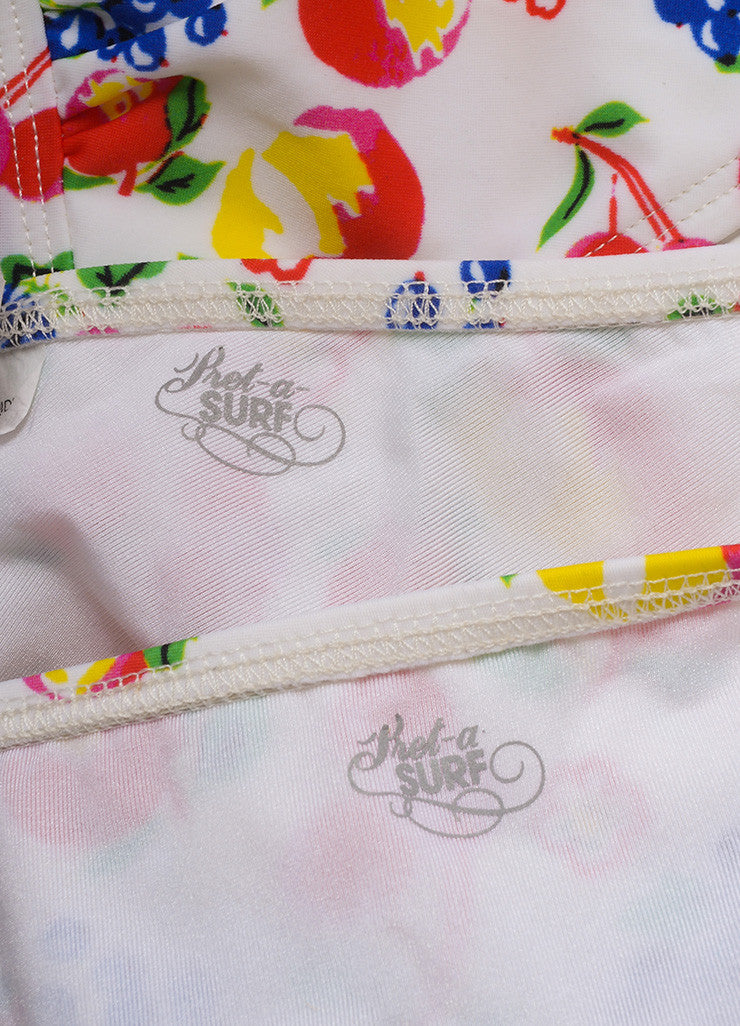 Pret a Surf New With Tags White and Multicolor Fruit Print Classic Bikini Brand