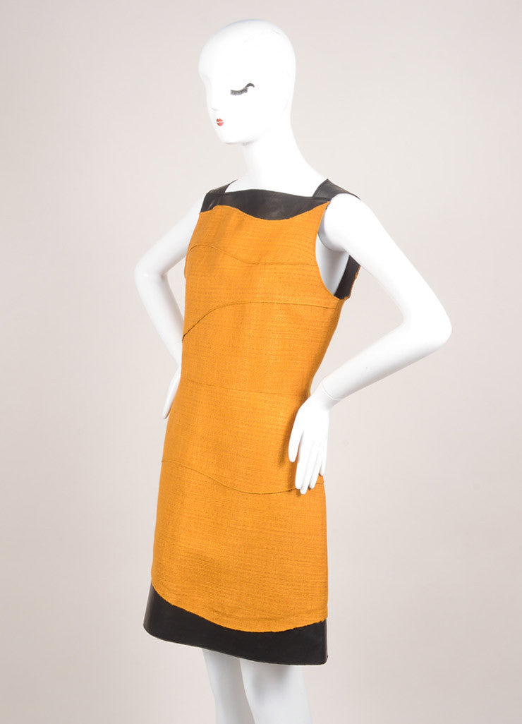 Proenza Schouler New With Tags Camel and Black Leather and Wool Patchwork A-Line Dress Sideview