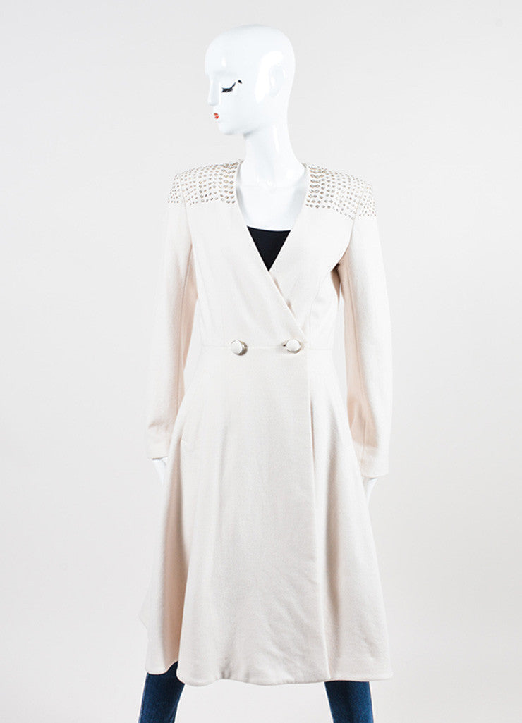 Cream Temperley London Wool Cashmere Bejeweled Full Length Coat Frontview