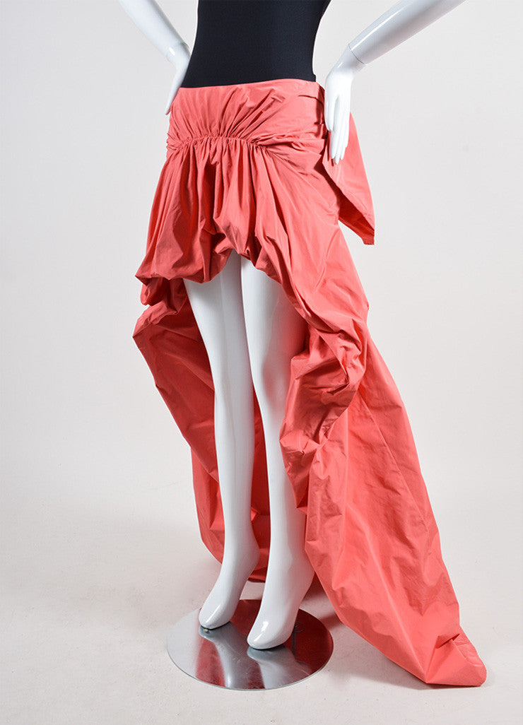 Coral Thakoon Ruched Tie Back Bustle High Low Skirt Sideview