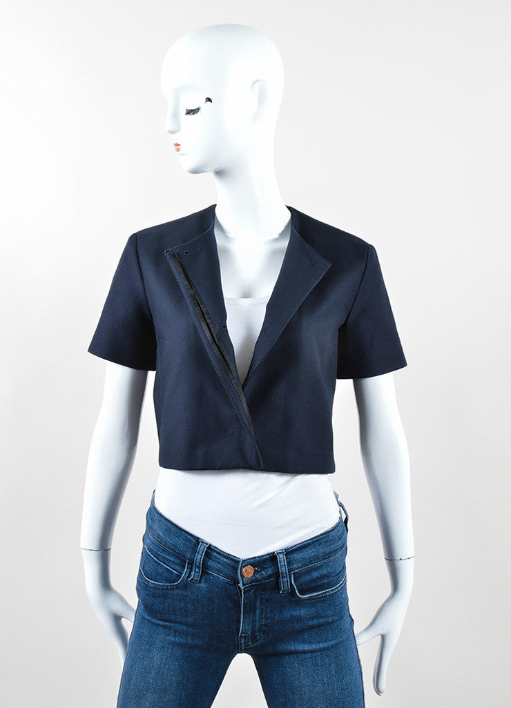"The Row Navy Cotton Stitched Short Sleeve ""Lero"" Cropped Jacket Frontview"