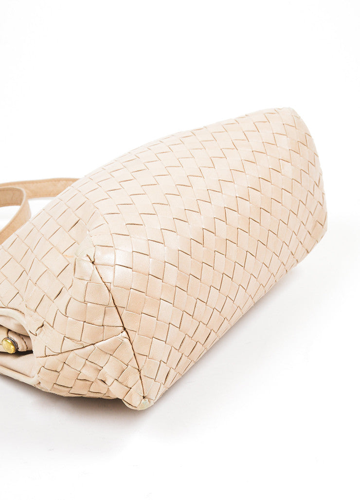Beige Bottega Veneta Woven Intrecciato Leather Frame Shoulder Bag Bottom View