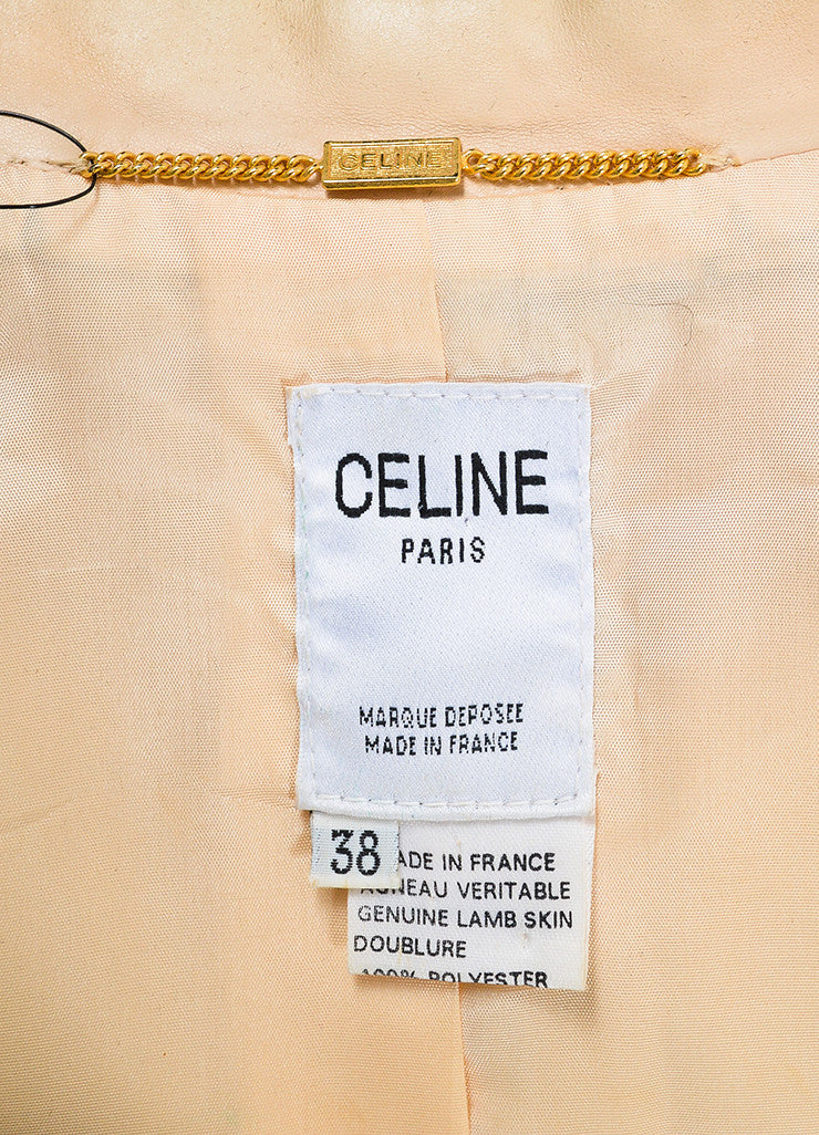 Beige Nude Celine Lambskin Leather Buttoned Blazer Jacket Brand