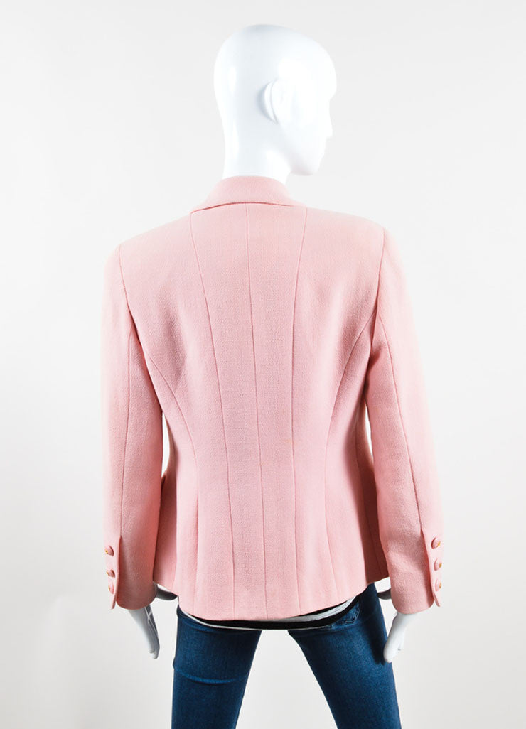 Chanel Light Pink Wool Jacket Backview
