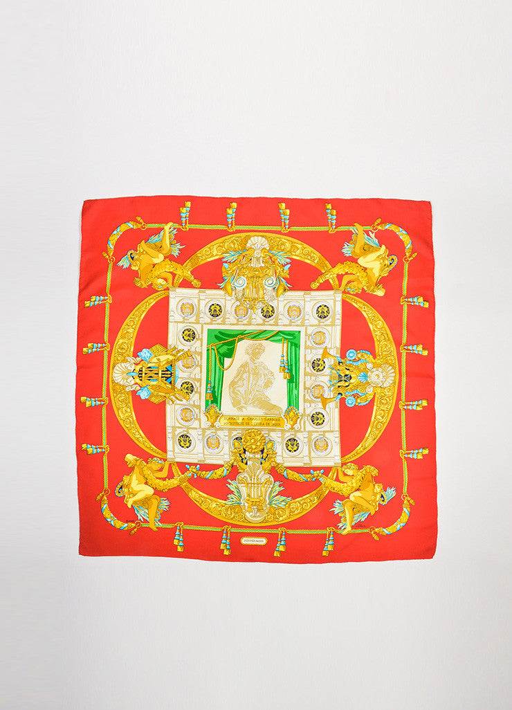 "Red and Gold Hermes Silk ""Architecte De L'Opera De Paris"" Scarf Frontview 2"