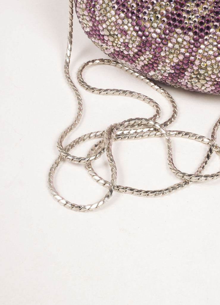 Judith Leiber Silver Toned and Purple Rhinestone Embellished Chain Strap Shell Clutch Bag Detail 2