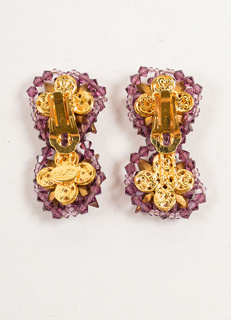 William DeLillo Purple, Red, and Gold Toned Double Star Beaded Earrings Backview