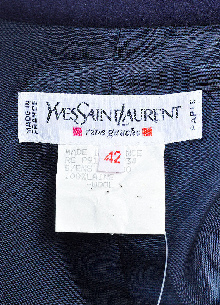 Yves Saint Laurent Navy Wool Jacket and Pencil Skirt Suit Brand