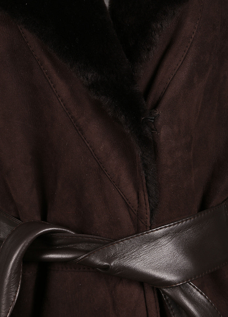 Valentino Dark Brown Suede Shearling Belted Long Coat Detail