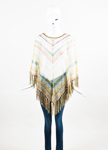 Brown, Cream and Green Valentino Silk Blend Striped Fringed Poncho Front