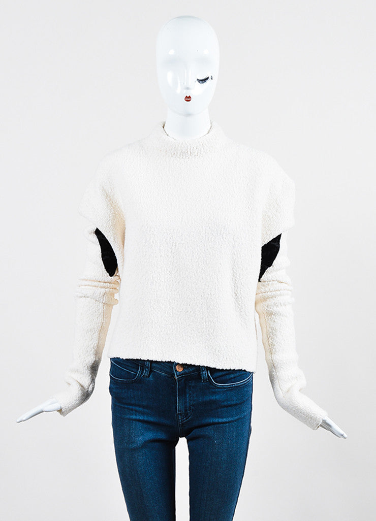 Cream and Black Victoria Beckham Wool Boucle Velvet Panel Sweater Frontview