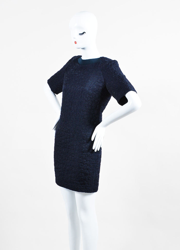 Navy Blue Victoria Victoria Beckham Wool Blend Short Sleeve Belted Dress Sideview