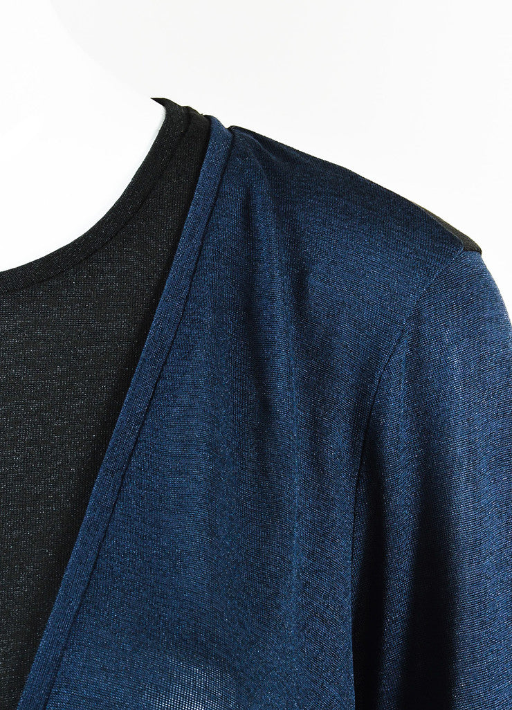 Vince  Navy and Black Semi Sheer Short Sleeve Top Detail