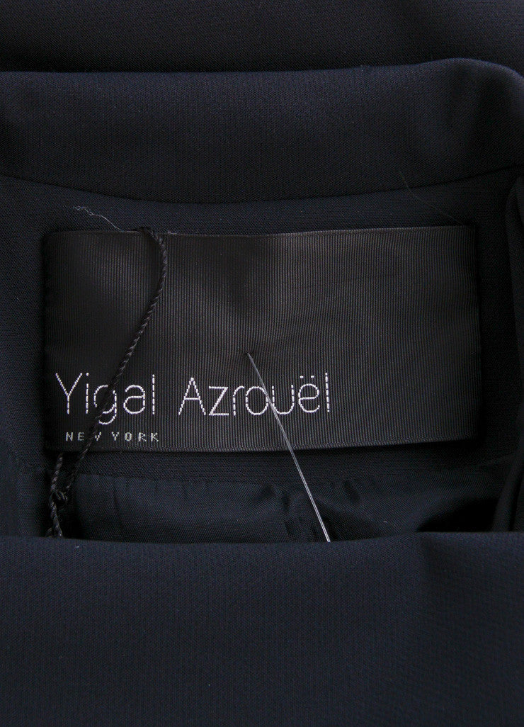 Yigal Azrouel Black Cotton and Leather Tailored Jacket Brand
