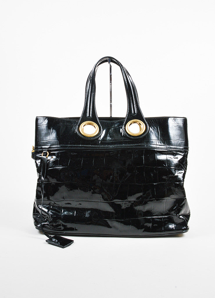 "Yves Saint Laurent Black Patent Leather Grommet Detail Embossed ""Sac Palma"" Tote Bag Frontview"