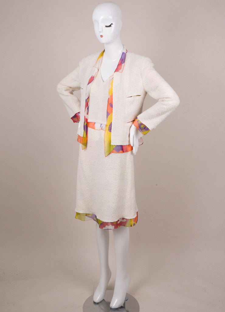 Chanel Off White and Multicolor Floral Print Silk and Tweed Three Piece Suit Sideview