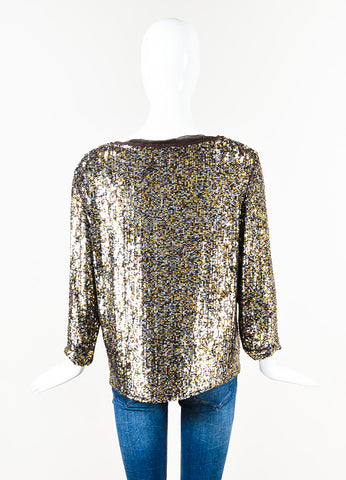 3.1 Phillip Lim Brown Gold Sequin Blouse Back
