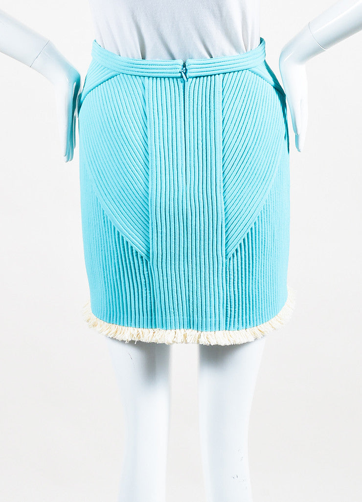 3.1 Phillip Lim Sky Blue and Cream Quilted Fringe Trim Mini Skirt Backview