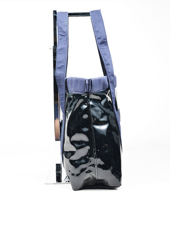 3.1 Phillip Lim Navy Blue Vinyl Canvas Tote Bag Sideview