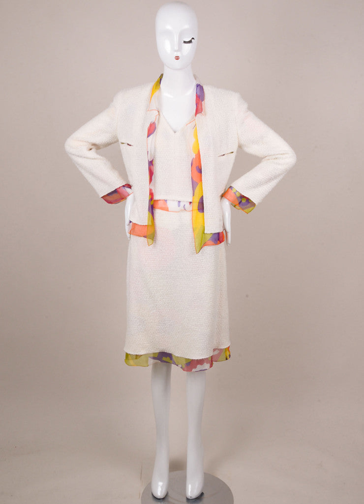 Chanel Off White and Multicolor Floral Print Silk and Tweed Three Piece Suit Frontview