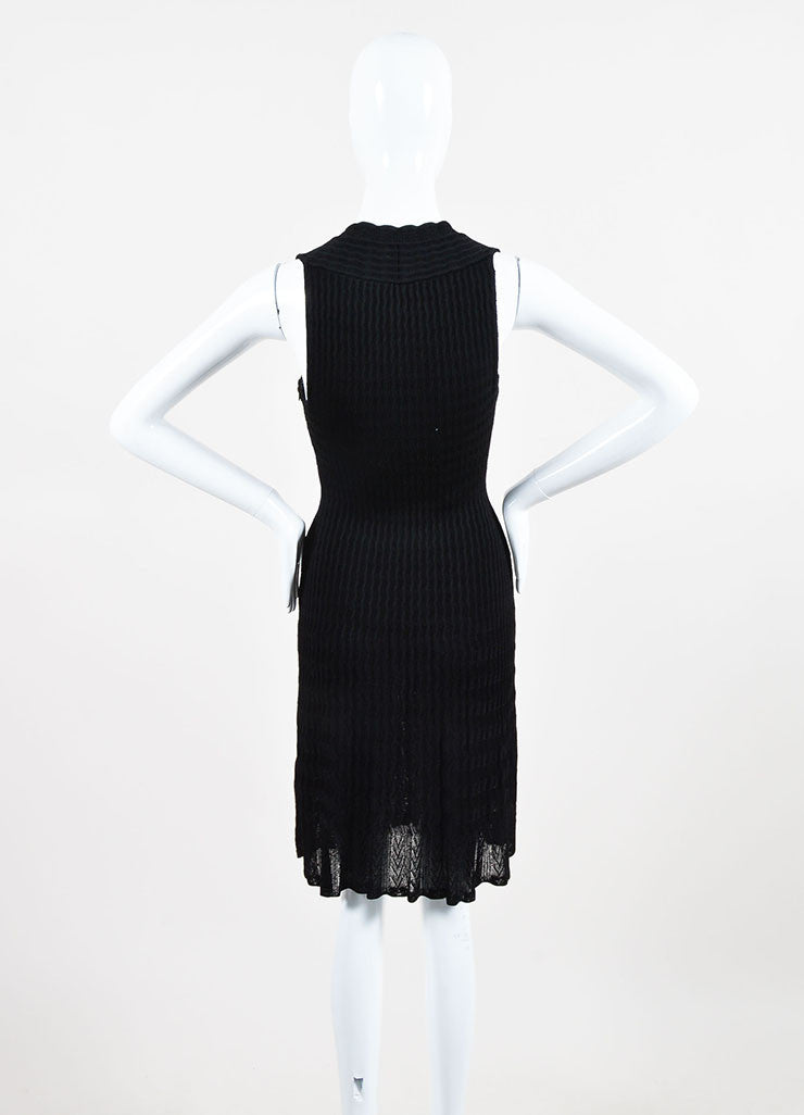 Alaia Black Knit V-Neck A-Line Semi Sheer Sleeveless Dress Backview