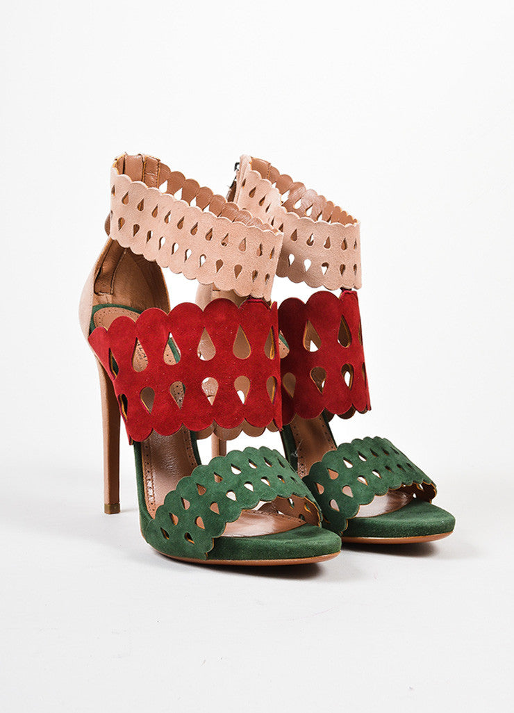 Nude, Red, and Green Alaia Suede Lazer Cut Heeled Sandals Frontview