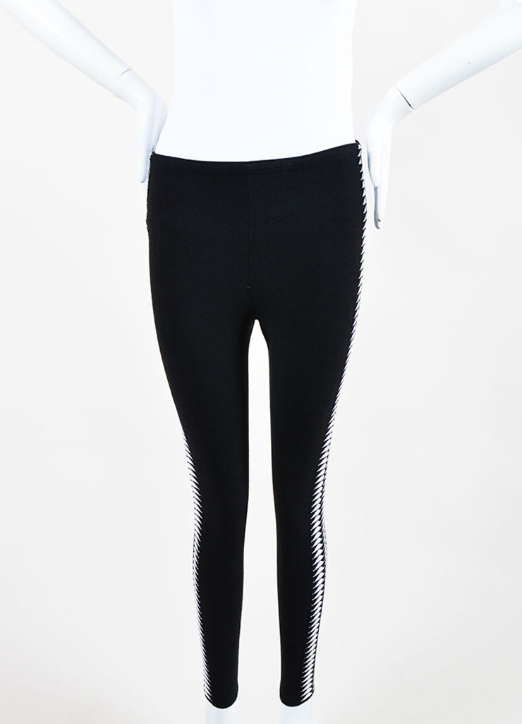 Black and White Alaia Triangle Print Stretch Leggings Frontview