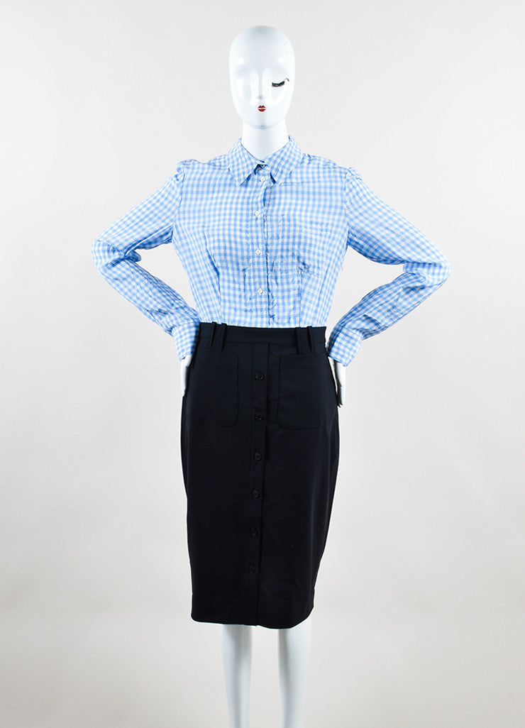 Altuzarra Blue, White, and Black Cotton and Silk Gingham Long Sleeve Shirt Dress Front