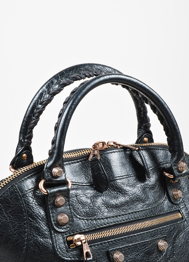 "Balenciaga Black Leather Studded ""Giant 12 Rosegold Thulian Bowler"" Bag Detail 2"