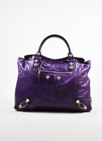 "Balenciaga Purple Wrinkled Distressed Leather Silver Toned Stud ""Giant Step"" Bag Frontview"