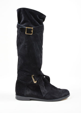 Black Balmain Suede Leather Slouchy Knee High Boots Side