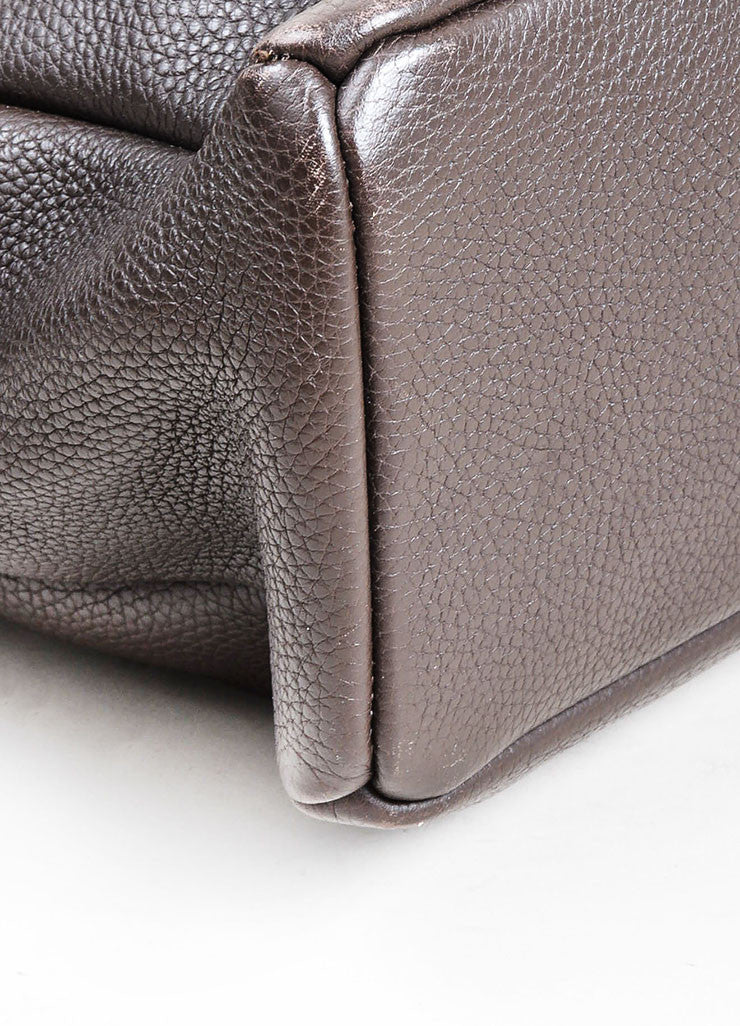 Ebano Brown Bottega Veneta Pebbled Leather Woven Detail Top Handle Zip Tote Bag Detail