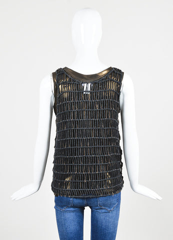 Black and Bronze äó¢íšíóBrunello Cuccinelli Metallic Net Layered Tank Top Backview