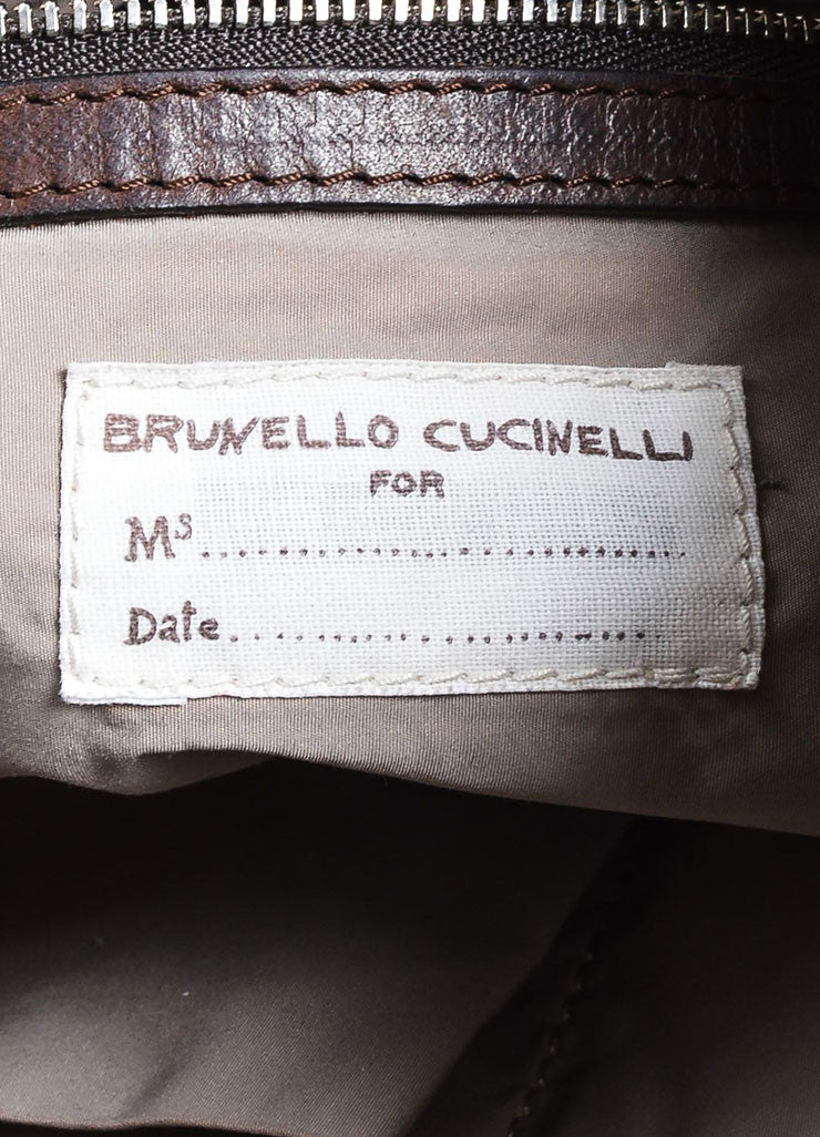 Grey Brunello Cucinelli Leather Expandable Tote Bag Brand