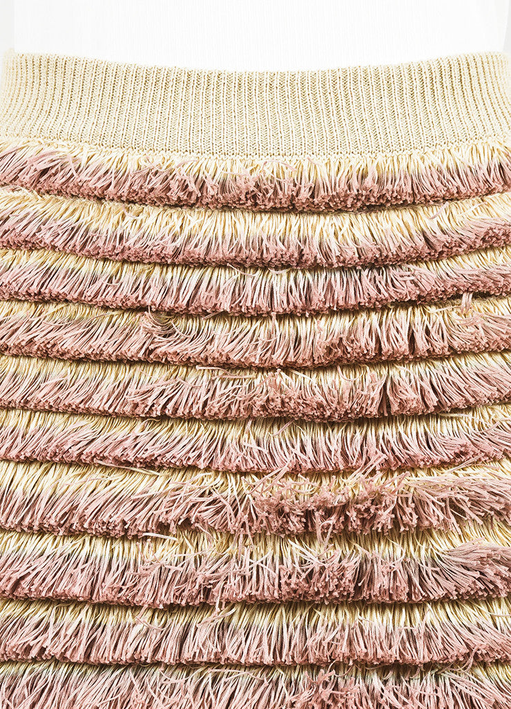 Burberry Prorsum Beige and Pink Knit Tiered Fringe Pencil Skirt Detail