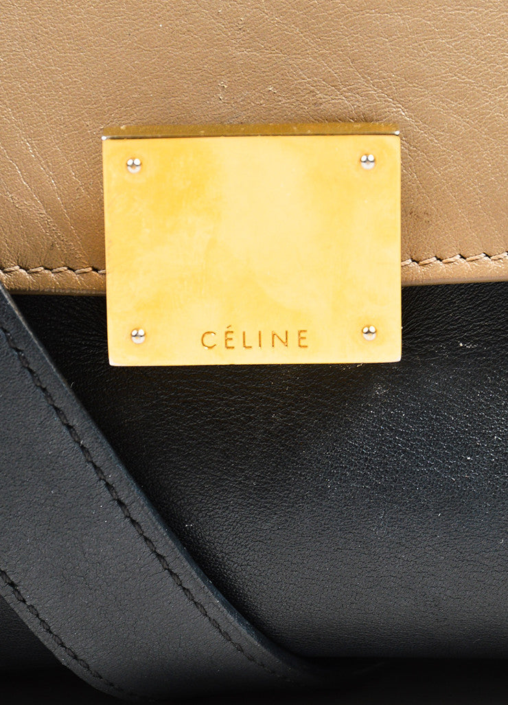 "Celine Red, Black, and Tan Suede Leather Tri Color Block ""Medium Trapeze"" Bag Detail 3"
