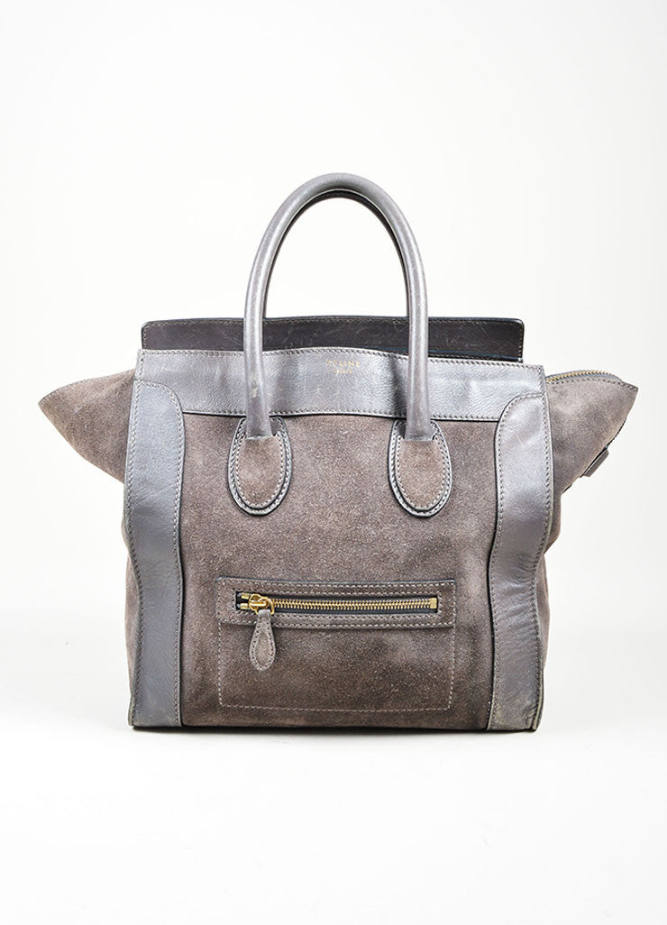 Grey Celine Suede and Leather Mini Luggage Tote Bag Frontview