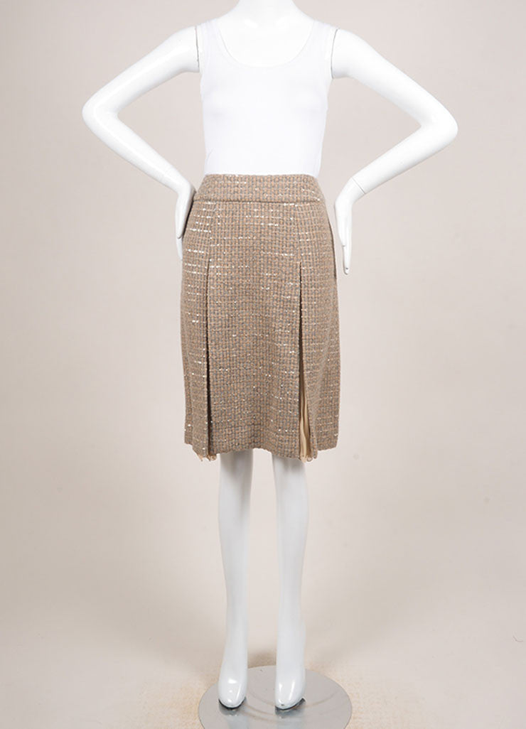 Chanel Tan and Grey Wool Blend and Silk Woven Sequin Embellished Pleated Skirt Frontview