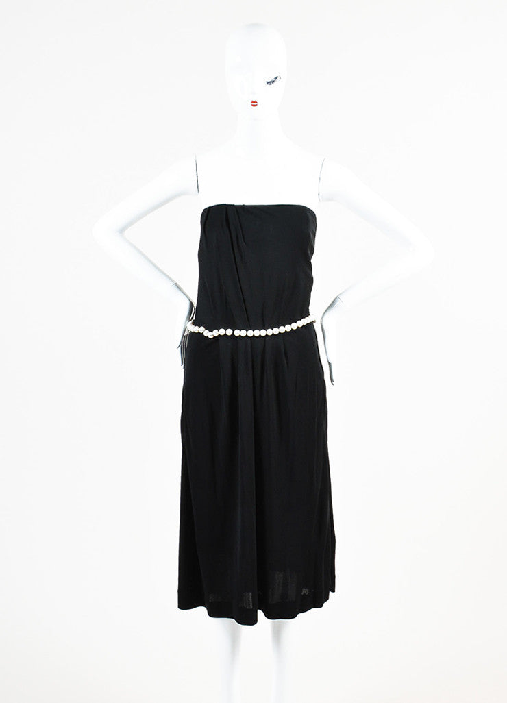 Chanel Black Crepe Jersey Faux Pearl Embellished Pleated Strapless Dress Frontview