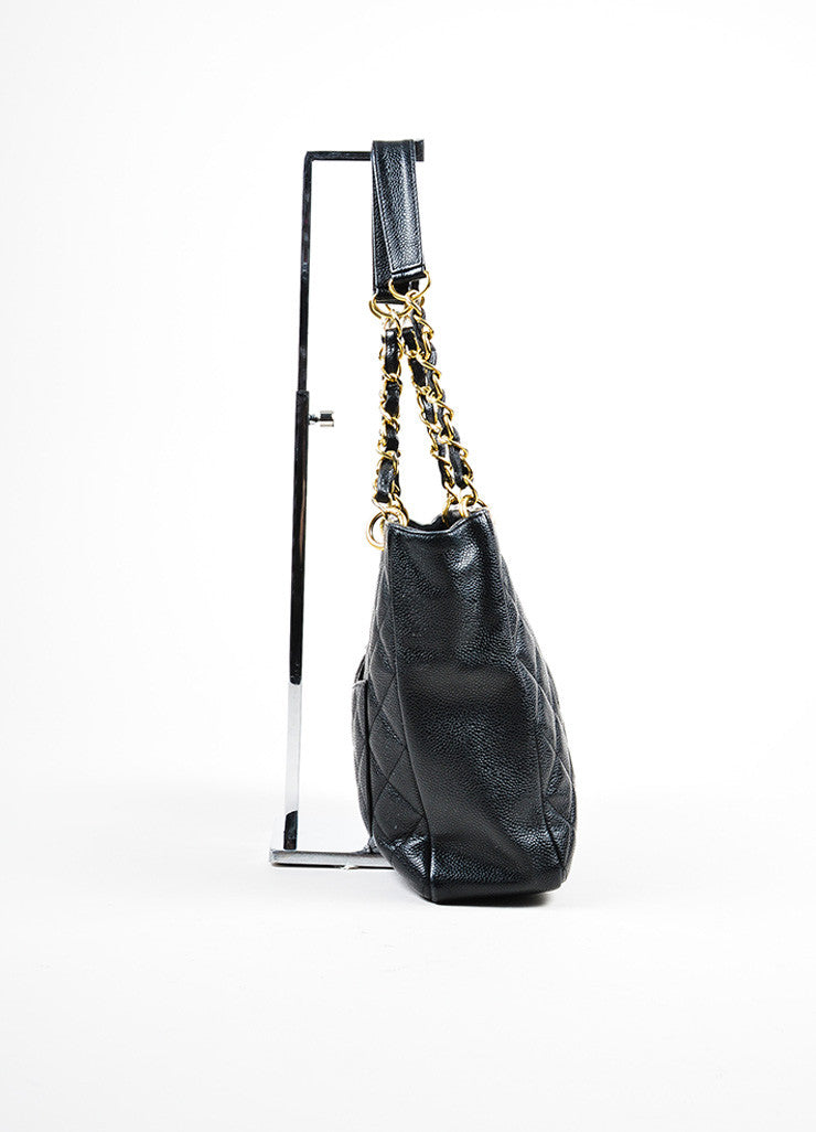 "Black Chanel Caviar Leather Quilted 'CC' Chain Strap ""Petite Shopping"" Tote Bag Sideview"