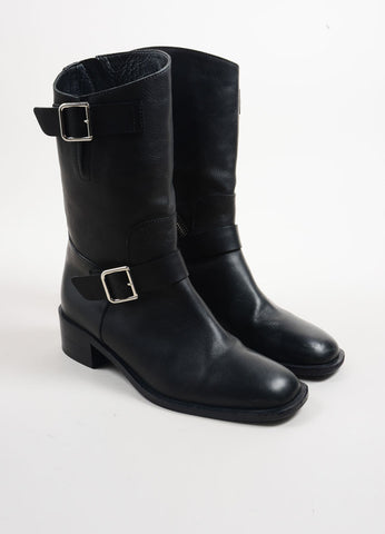 Chanel Black Leather Asymmetrical Zip Stacked Heel Moto Boots Frontview