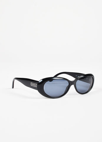 Chanel Black Tinted Lens Oval Frame Sunglasses Sideview