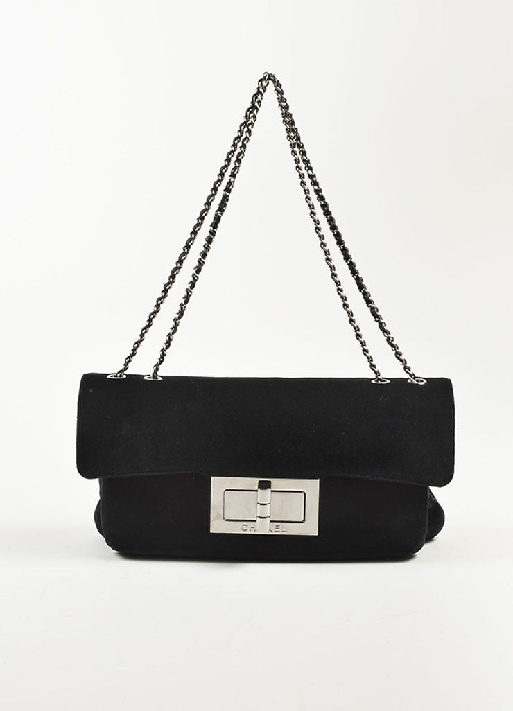 "Chanel Black Velvet Silver Toned Clasp Chain Strap ""Mademoiselle Flap"" Bag Frontview"