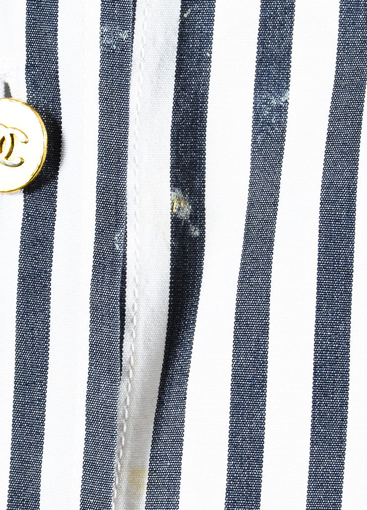 Chanel Black and White Striped Gold Toned 'CC' Button Down Shirt Detail 3