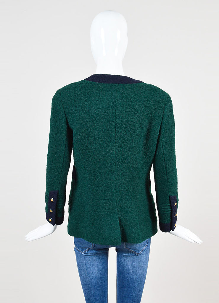 Chanel Forest Green and Navy Boucle Knit Embellished Button Blazer Jacket Backview