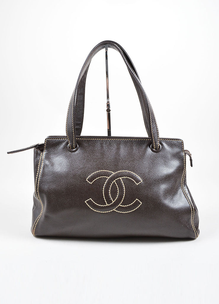 "Chanel Brown Caviar Leather Stitched ""CC"" Tote Bag Frontview"