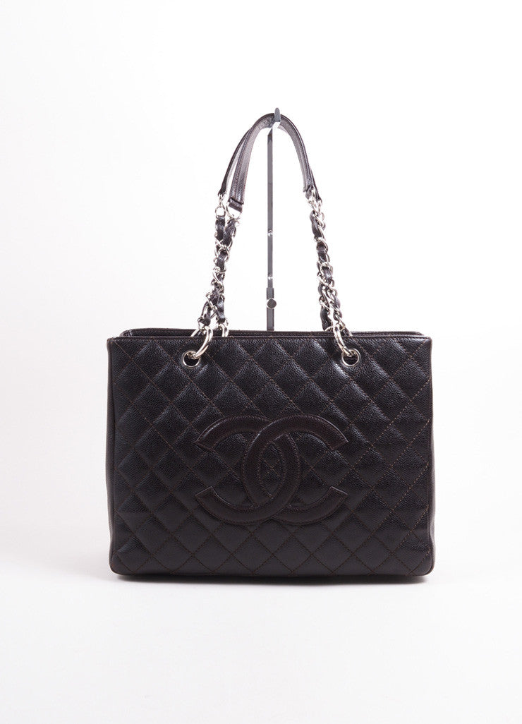 "Chanel Dark Brown Quilted Caviar Leather ""CC"" Chain Strap Grand Shopper Tote Bag Frontview"